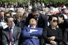 Former Italian Prime Minister Silvio Berlusconi, center, attended the dedication ceremony for the George W. Bush Presidential Center in Dall...