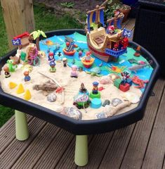 Pirate small world play in a tuff spot Pirate Activities, Eyfs Activities, Nursery Activities, Toddler Activities, Toddler Games, Indoor Activities, Summer Activities, Family Activities, Tuff Spot