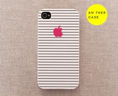 iphone 4 case, iphone 4s case, iphone 4 cover, hard iphone case - white iphone 4 case, pink apple logo, black stripes