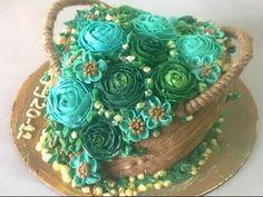 Flower basket cake recipe with Butter cream - YouTube