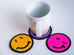 pixel bead 3 pcs faces coasters hama bead by freepeoplee on Etsy, $7.00 #etsy #coaster #smile