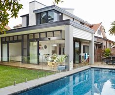 Heritage Cottage Versatile Family Home With Acrylic Fence Designs And The Design Of The Swimming Pool Also Lawns Back Home Heritage Cottage In Australia Transformed Into Versatile Family Home Architecture