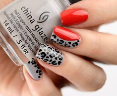 ZigiZtyle: 31 Day Challenge: Animal Print / Leopard Nails inspired by Louboutin shoes, China Glaze Change Your Altitude, OPI Coca-Cola Red & Embrace The Gray, A England Camelot #leopardnails #leopardnailart #leopard