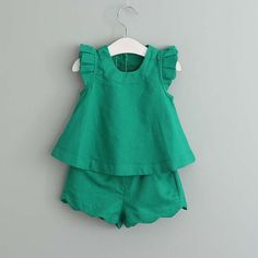 Sleeveless Solid Set with Scalloped Shorts Set (Emerald Green, Antique Pink, White)