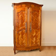 French Antique Armoire in Cherry with Chevron Panels, c. 1850