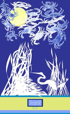"""Nancy Hammond 2012 """"Crabs Over the Chesapeake"""" limited edition poster"""