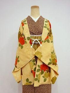●雅星●良品!!薄橙*薔薇♪羽織 正絹 裄62丈76 - アンティーク着物や現代着物なら雅星本店