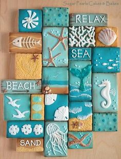 Beach Decor Images Romantic Cottage On The Beach Do you desire to escape to the seaside? These 10 Coastal Cookies will carry you away to beach for a deliciously artistic summer escape! Coastal Cookie Collage via Sugar Pearls Cakes & Bakes. Seashell Crafts, Beach Crafts, Diy Crafts, Beach Themed Crafts, Beach Themed Rooms, Seashell Projects, Deco Marine, Beach Signs, Shell Art