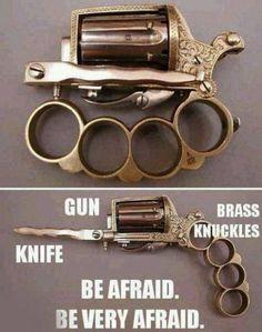 Gun, knife, and brass knuckles