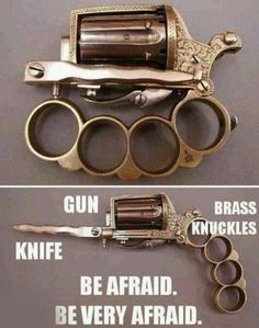 Gun, knife, and brass knuckles