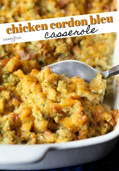 Chicken Cordon Bleu Casserole is an ultra easy, casserole spin on a classic dish. Layers of chicken, ham, cheese, and stuffing are all baked together to make a comfort food dish that everyone in your family will love! Baked Chicken Cordon Bleu, Chicken Cordon Bleu Casserole, Chicken Stuffing Casserole, Easy Casserole Dishes, Dinner Casserole Recipes, Stuffing Mix, How To Cook Chicken, Chicken Ham, Cooked Chicken