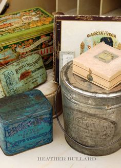 so many wonderful vintage tins and boxes at nearly every antique shop. Here is a sampling of tobacco tins, lingerie boxes, cigar boxes and biscuit tins. You can line the insides with tissue paper, parchment paper, fabric, basket filler or waxed paper depending on your gift.