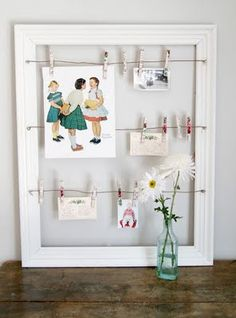 paint old picture frame, add wire and clothes pins to hang pictures, recipes, kids' artwork, etc. Picture Frame Projects, Picture Frames, Picture Ideas, Picture Wire, Diys, Do It Yourself Inspiration, Creative Inspiration, Diy Casa, Picture Holders