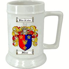 $19.75 - Family Crest Ceramic Beer Stein 16 oz - www.4crests.com -   Your full colour Coat of Arms / Family Crest printed on a high quality 16 oz beer stein. Use it to enjoy your favorite beverage hot or cold. Dishwasher Safe. Allow 7-10 days for delivery.