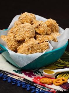 Pretzel Crusted Chicken Nuggets Paired with a Creamy Maple Mustard Greek Yogurt Dipping Sauce.