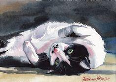 Original Watercolor Painting Tuxedo Cat Kitty Kitten Cute Black And White Cat By Yuliya Podlinnova