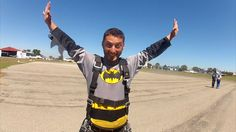 Batman all geared up and ready for some freefall fun over St Kilda!