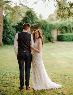 tasha + toby   Leyna Gown by Tadashi Shoji for BHLDN   image via: green wedding shoes   #BHLDNbride