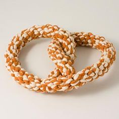 Pretzel Dog Toy: Made from rope and perfect for Miles to drag around the house and chew on for hours.