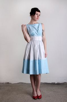 Vintage Dress  Blue Milkmaid 1960s FASHION by VeraVague on Etsy, $150.00
