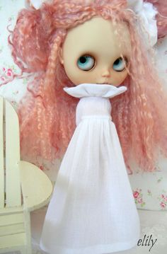 Lovely Long Soft Pin Tucked Cotton Gauze Dress for Blythe Custom Colors and Length.