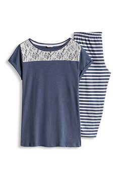 Esprit / Pyjama en jersey et dentelle, 100 % coton