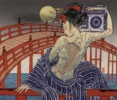 "Cover for the October 2007 issue of Word magazine (UK) monthly supplement CD Now Hear This! The art of Asian American artist, Yuko Shimizu, is a creative blend of contemporary images in a traditional   Japanese 17th century format called ""Edo Pop"". She follows in the footsteps of Hokusai and Hiroshige with the sensibilities of artist, Masami Teroka. http://masamiteraoka.com/archive/home.php"