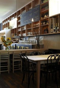 Love the look of the restaurant...inspiration for home! Wall paint is French Roast and Stout from C2 paints