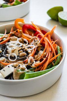 Easy Veggie Noodle Bowl with Peanut Sauce | edibleperspective.com #glutenfree #vegan