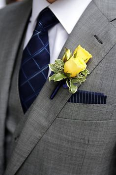 Marie Labbancz, Navy, Yellow and White Wedding, Boutonniere, Garces Catering