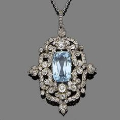 An aquamarine and diamond pendant necklace, circa 1890