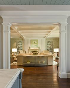 Dutch Colonial Residence Living Transitional by Harrison Design Interior Columns, Interior Design, Modern Interior, Living Room Interior, Living Room Decor, Home Renovation, Home Remodeling, Harrison Design, House Trim