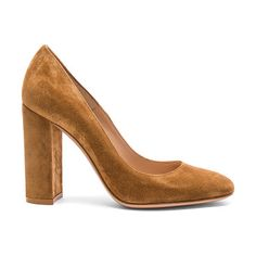 Suede chunky heels by Gianvito Rossi. Suede upper with leather sole.  Made in Italy.  Approx 100mm/ 4 inch heel.