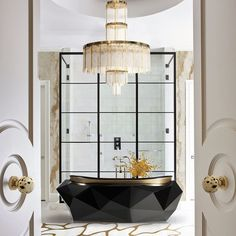 Dream bathroom 💭 Rate this stunning bathroom design out of Check The Link in Bio📱 —————————— . Outdoor Chandelier, Modern Chandelier, Modern Lighting, Lighting Ideas, Shower Head Filter, Best Bathroom Designs, Design Bathroom, Bathroom Ideas, Family Bathroom