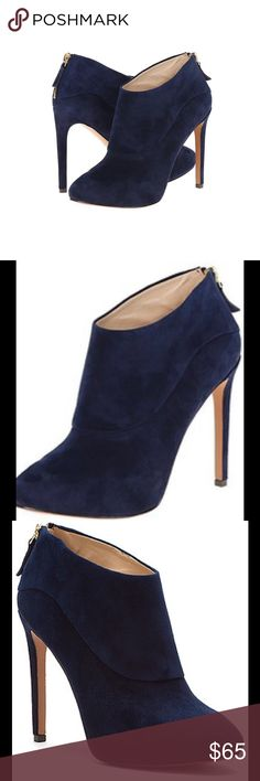 """Nine West Nava Joe Booties Brand New In Original Box. No Trades. Navy Blue.  Details: Sizing: True to size. M=standard width  - Round toe - Detailed shaft - Back zip closure - Approx. 3"""" shaft height, 11"""" opening circumference - Approx. 4.75"""" heel - Imported Materials: Suede upper, manmade sole Nine West Shoes Ankle Boots & Booties"""