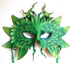 Forest Greenman Mask Handmade Leather Mask by OakMyth on Etsy