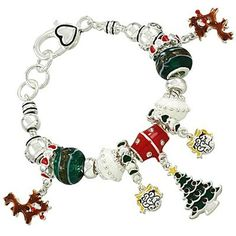 Christmas Theme Pandora Inspired Charm Bracelet, Silver Plated (405 MXN) ❤ liked on Polyvore featuring jewelry, bracelets, charm bracelet, silver plating jewelry, christmas charm bracelet, silver plated charm bracelet and christmas jewelry