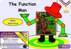 SMART BOARD - Function Man    Students and teachers alike love the Function Man.  This interactive lesson uses the concept of a function machine to illustrate input/output.