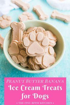 Homemade Dog cake Recipe: Peanut Butter Banana Ice Cream for Dogs The Itsy-Bitsy Kitchen Dog Biscuit Recipes, Dog Treat Recipes, Healthy Dog Treats, Dog Food Recipes, Healthy Food, Eating Healthy, Healthy Meals, Homemade Dog Cookies, Homemade Dog Food