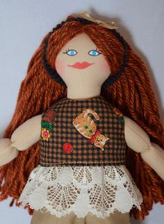 Redhead Doll With Cat Shirt - Kids Toy - Handmade