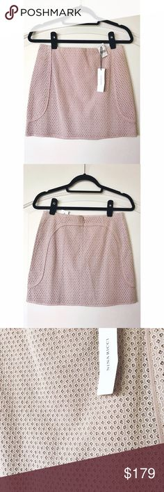 """NEW Nina Ricci France mini Eyelet skirt 2 4 XS S Cute and special! Very nice light dusty pink color. Flattering a-line silhouette.  Size FR 36 Waist: 14"""" Length: 15"""" Hips: 17.5"""" Cotton.  Made in France. Very nice piece! See many more in my listings - Marni, Chanel, etc CHANEL Skirts Mini"""