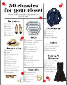 50 Classics for your closet by Matchbook Magazine - great list for any age except maybe the mini skirt 😊 Preppy Wardrobe, Girls Wardrobe, Preppy Outfits, Preppy Must Haves, Build A Wardrobe, Preppy Girl, Plus Size Capsule Wardrobe, Fall Capsule Wardrobe, Minimalist Wardrobe