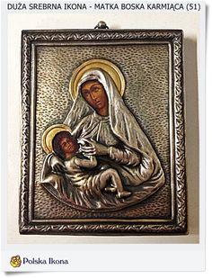 Srebrna ikona Ag, 0.925 Matka Boska Karmiąca na prezent urodzinowy (51)