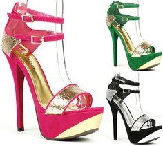 2 Tone Glitter Ankle Strap Open Toe Platform Sandal Liliana Reseda-5 - ebay.com