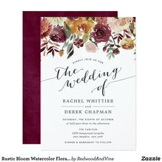 Rustic Bloom Watercolor Floral Wedding Invitation - calligraphy gifts custom personalize diy create your own Summer Wedding Invitations, Watercolor Wedding Invitations, Floral Invitation, Elegant Wedding Invitations, Custom Invitations, Invites, Wedding Stationery, Wedding Planning, Wedding Ideas