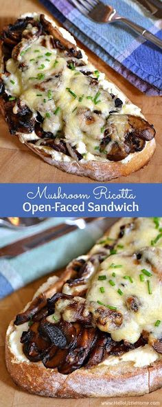 A Sandwich for Mushroom Lovers! A Sandwich for Mushroom Lovers! Inac zinnuriye Cooking is passion This Mushroom Ricotta Open-Faced Sandwich is a delicious vegetarian sandwich recipe that mushroom lovers will go nuts for! Vegetarian Sandwich Recipes, Vegan Recipes, Cooking Recipes, Vegetarian Cooking, Vegetarian Dinners, Cooking Ideas, Snacks Recipes, Vegan Meals, Dinner Recipes