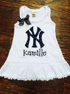 New York Yankees Baseball Dress by AddieBelleBoutique on Etsy, $28.00