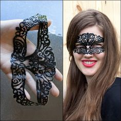 DIY Masquerade Mask Tutorial and Template from Sprinkles in Springs here. This is made from tulle and puffy paint and is so easy and such a clever idea! *For more mask ideas like cat woman (a roundup - not kidding), steampunk, Dollar Store Deatheater, and two lace masks go here: truebluemeandyou.tumblr.com/tagged/masks