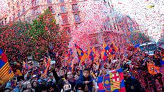 LIVE- Victory parade and celebrations for history second FC Barcelona tr...