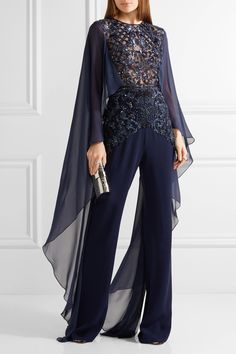 Zuhair Murad | Embellished tulle, chiffon and silk-blend crepe jumpsuit | NET-A-PORTER.COM